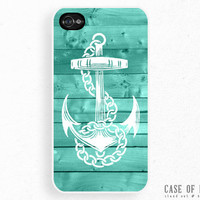 iPhone 4 / 4S Case - Nautical Anchor Sailor Sea Tiffany Blue Green Wood - Cell Mobile Phone Cover