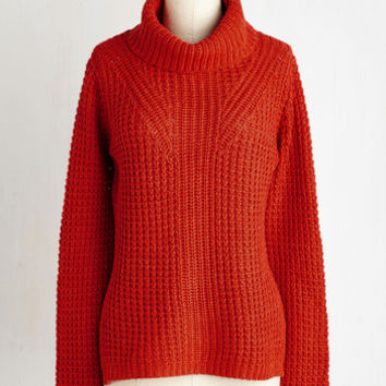 Minimal Short Length Long Sleeve Engineer to My Heart Sweater in Pumpkin