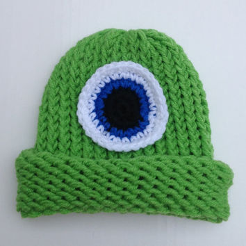 Mike Wazowski Inspired Monsters Inc. Green Halloween Baby Infant Child's Toddler Teen Adult Knitted Winter Hat