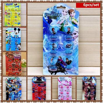6Pcs/Set Frozen Mickey mouse Spiderman Disney Cars Stamps favors DIY Birthday party Painting Scrapbooking Decoration Gift