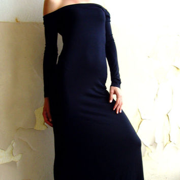 10% discount with coupon code cvetinka10 CUSTOM MADE Eco Friendly Cocktail Maxi Tight Long Cocktail Dress Off Shoulder In Black By Cvetinka