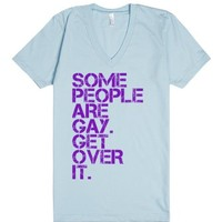 Some People Are Gay Unisex V-Neck Tee-Unisex Light Blue T-Shirt