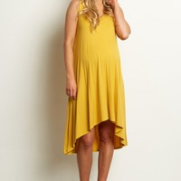 Yellow-Sleeveless-Cross-Back-Dress