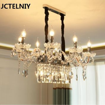 LED european-style crystal chandelier creative long restaurant lamp simple modern table bar candle lamps