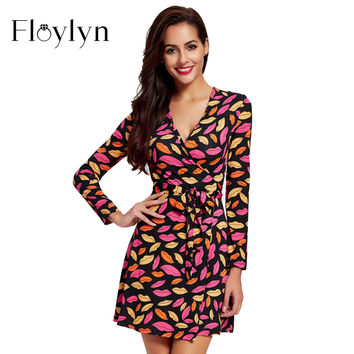 Floylyn Women Dresses Sexy Lips Print Long Sleeve Mini Empire Waist V-Neck Ladies Plus Size Dress
