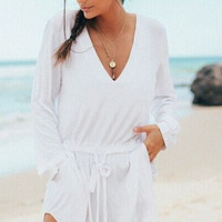 White V-Neck Long Sleeve Drawstring Romper