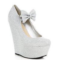 Silver Bow Glitter Wedges