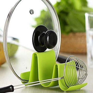 Wave Shape Pan Cover Lid Ladle Spoon Rest Rack Cooking Tools