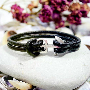 Mens Black Leather Bracelet, Men's Jewelry, Anchor Bracelet Men's Cuff Bracelet, Silver Plated Anchor Clasp, Valentine's Gifts