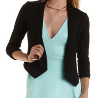 Black Three-Quarter Sleeve Open Front Blazer by Charlotte Russe