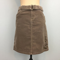 Corduroy Skirt Mini Skirt Short Skirt Size 10 Tan Corduroy Light Brown Corduroy Medium Skirt Fall Winter Skirt FREE SHIPPING Womens Clothing