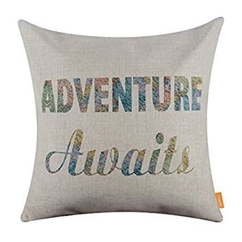 LINKWELL 18x18 inches World Map Words Adventure Awaits Throw Pillowcase Cushion Cover (CC1260)