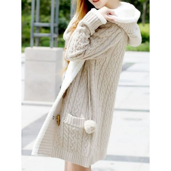 Beige Womens Knitting Long Sleeved Horn Button Thick Long Sweater Coat One Size MM0447be