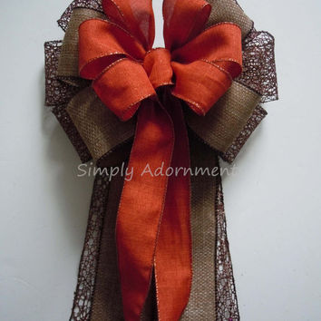 Brown Orange Wedding Pew Bow Brown Fall Burlap Wedding Bow Fall Thanksgiving Wreath Bow Fall Burlap Bow Fall Autumn Wreath Decoration