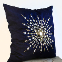 Premium Pure Navy Blue Silk Pillows Mirror embroidery- Silk Couch pillows- Decorative Sheesha silk pillows -16X16 pillow- Star burst pillow