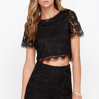 Prance Boldly Black High-Waisted Lace Shorts