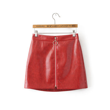 Tangada Women Red Faux Leather A-line Skirts Fashion European Style Zippers Slim Fit Casual Brand Skirt Mujer Streetwear 6A20