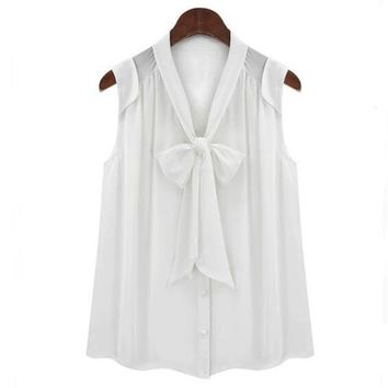 White Black Color Sleeveless Chiffon Blouse for Women Summer Front Bow Tie V Neck Preppy Style Shirts Tops