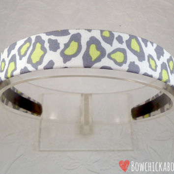Animal Print Headband, Grey, Neon Yellow, Cheetah Print, Girls Headband, Headband for Teen Girls, Alice Band, Lined Headband, Gift