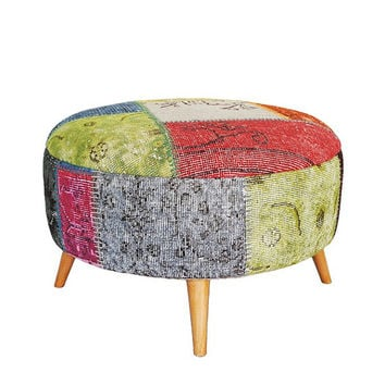 Large Round stool ottoman, Covered with Vintage Over dyed Rug-Multi
