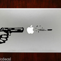 Apple Gun Pistol Gun Shot Bullet Decals Stickers For Macbook 13 Pro Air Decal