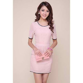 Pink Short Sleeve Mini Dress
