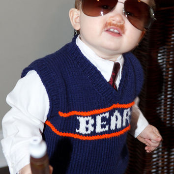 MADE TO ORDER, Child Knitted Sweater Vest - Team Chicago Bears size 6 months to Child size 10