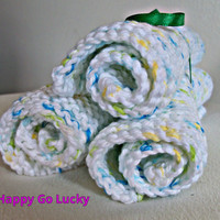 Hand crafted knit dish cloth Set of 3-White speckled with blue, green, and yellow