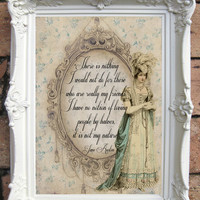 Jane Austen Quote Art Print. Northanger Abbey Quotes. Regency Fashion Illustartion. Shabby chic Wall decor. Shabby. Gift for her. Code: JA03