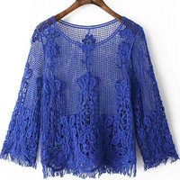 Blue Crochet Net Lace Long Sleeve Blouse