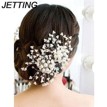 CREYN3C 1Pc Bridesmaid Bridal Hairpin Women Ladies Floral Wedding Pearl Crystal Party Hair Comb Hairpin Jewelry Hair Accessories