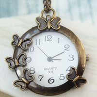 Retro Brass Butterfly Pocket Watch Pendant Necklace - Animal