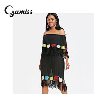 Gamiss Crochet Panel Fringed Cover Up Dress Swimsuit Beach Dress Summer Ladies Cover-Ups Bathing Suit Beach Wear Tunic