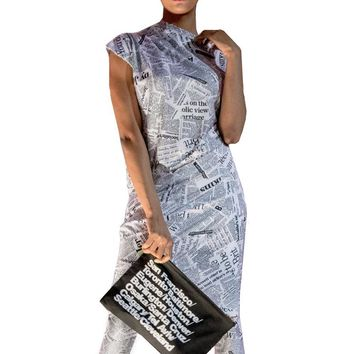 News Paper Print Short Sleeve Draped Dress & Tights Set