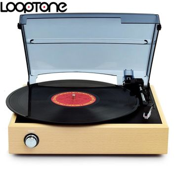 LoopTone 33/45/78 RPM Wooden Stereo Turntable Players Vinyl LP Record Player w/ 2 Built-in Speakers Line-out AC110~130V&220~240V