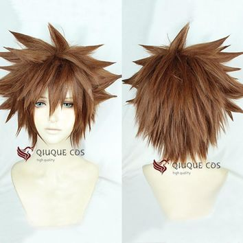 Cool Kingdom Hearts III Sora Short Afro Pale Brown Heat Resistant Synthetic Hair Cosplay Costume Wig + Track + CapAT_93_12