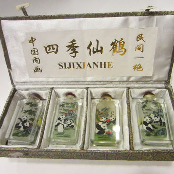 Snuff Bottle Suite Featuring Panda Bears Painted Reverse Glass SIJIXIANHE