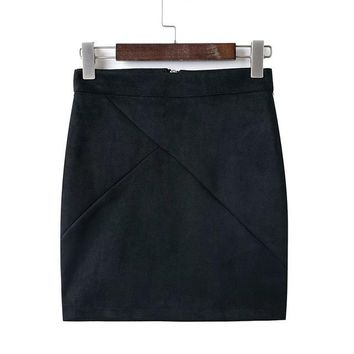 Women's Suede Bodycon Mini Skirt