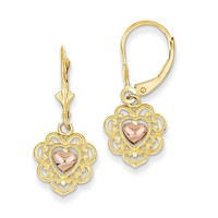 14K Two-tone Heart with Lace Trim Leverback Earrings K4384