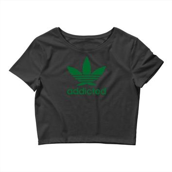 addicted ~ mens funny Crop Top