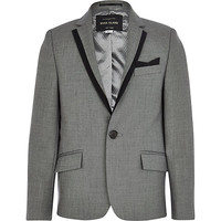 River Island Boys grey silver suit blazer