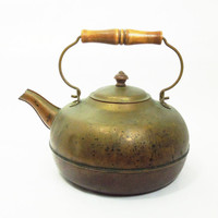 Vintage antique-brass kettle with wooden handle - Rustic tea kettle - Vintage home decor - Cottage chic