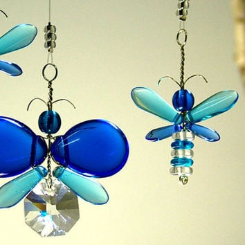 Swarovski Crystal Suncatcher Blue Butterfly Mobile Childrens Hanging Mobile Glass Butterfly Decor Wedding Garland Window Charm Christmas Boy