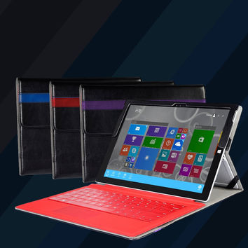 Premium PU leather folio sleeve stand cover case with stylus holder for Microsoft surface Pro 3 Pro 4 12inch windows tablet skin