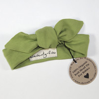 Organic Stretch Knit Head Tie in Green
