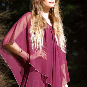 70's Boho Maxi Dress - Red Wine Burgundy Vintage caplet Dress - Sheer Chiffon Cape - Bohemian Long Formal Gown - Evening Party Ritual Witch