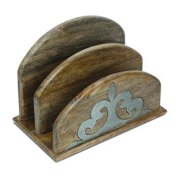 Wood & Metal Inlay Letter Holder - GG Collection