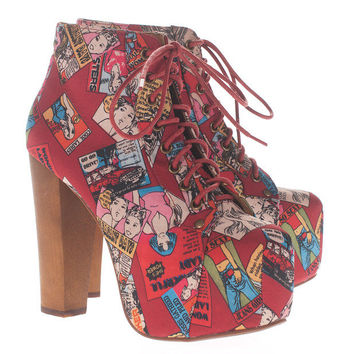 JEFFREY CAMPBELL  Lita Cartoon Red Platform booties  - What's new