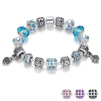 Silver Plated Charm Bracelet with Murano Glass Beads