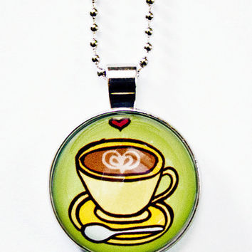 Coffee Necklace - Glass Necklace - Cafe Necklace